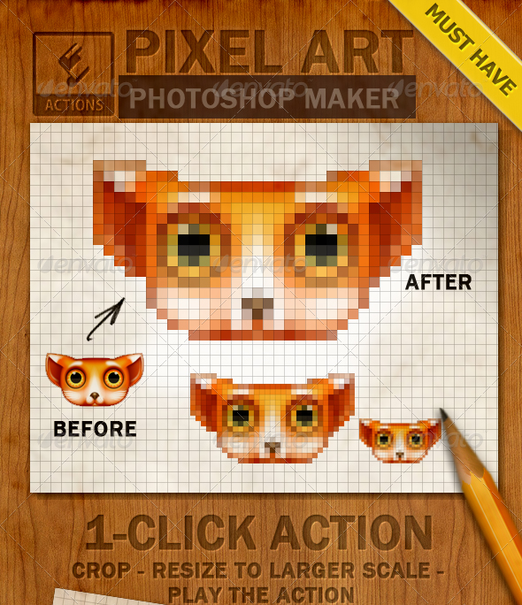 8 Bit Image Avatar With Pixel Photoshop Action