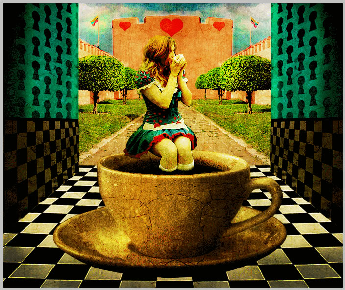 Alice in Wonderland drinking tea in the royal courtyard