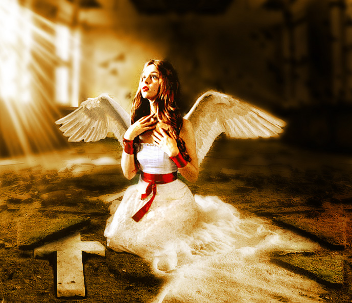 Beautiful Fallen Angel - Photoshop photo manipulation