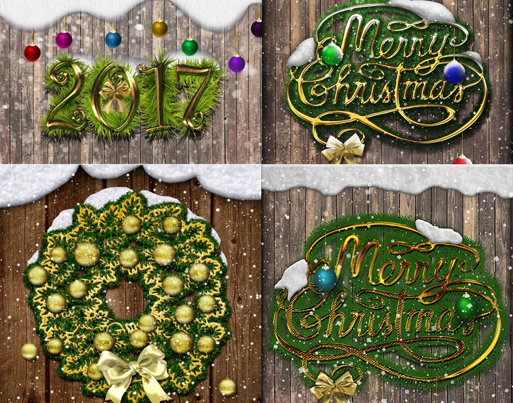 Christmas and new year greeting card photoshop tutorial beautiful fan art images collage baditri Gallery