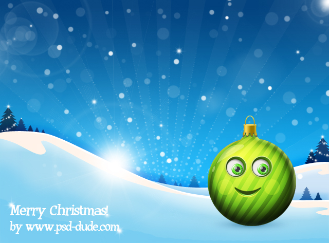 Christmas Globe Cartoon Character in Photoshop