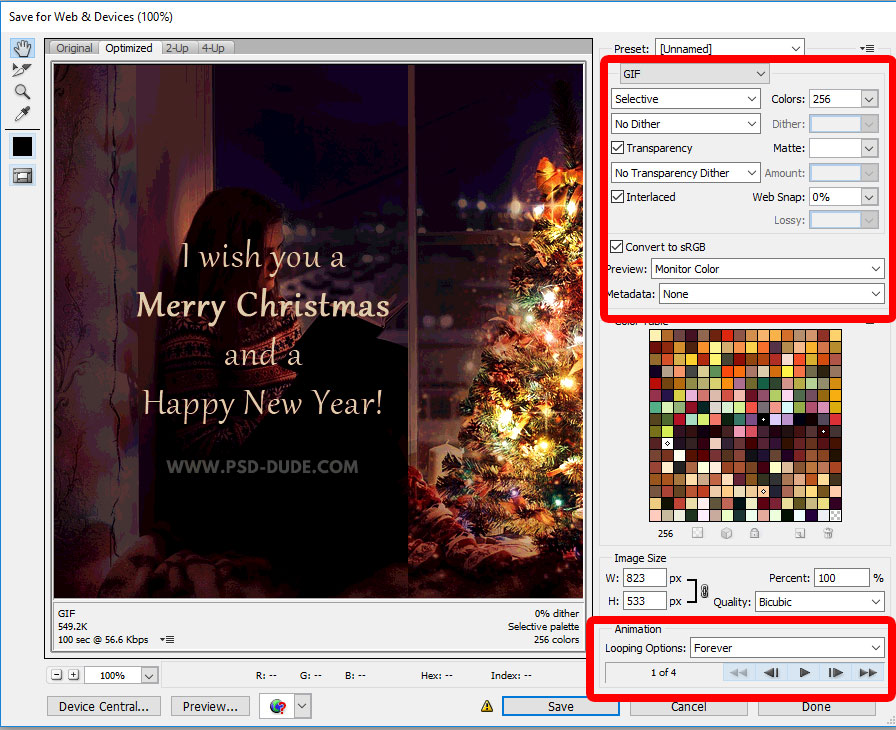 How to save a gif in Photoshop