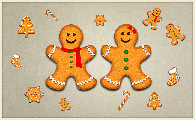 Gingerbread Christmas Cookie Vector Decorations Photoshop Tutorial
