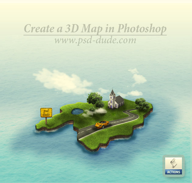 Create a 3D Island Map in Photoshop