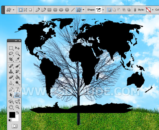Create a green earth tree environment background in photoshop create a new layer and call it world map load this csh filecustom shape in photoshop use the custom shape tool to add the world map psddude shape like gumiabroncs Choice Image
