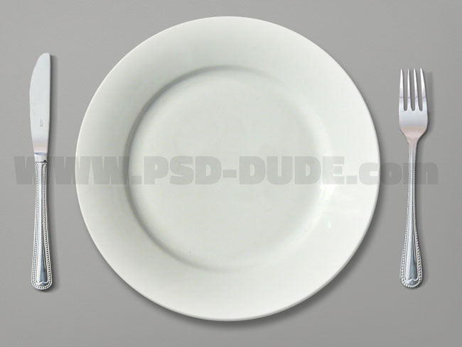 fork knife and plate mockup photoshop