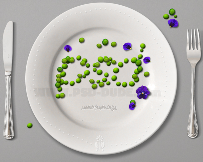 food typography green peas and pansy flower arrangement
