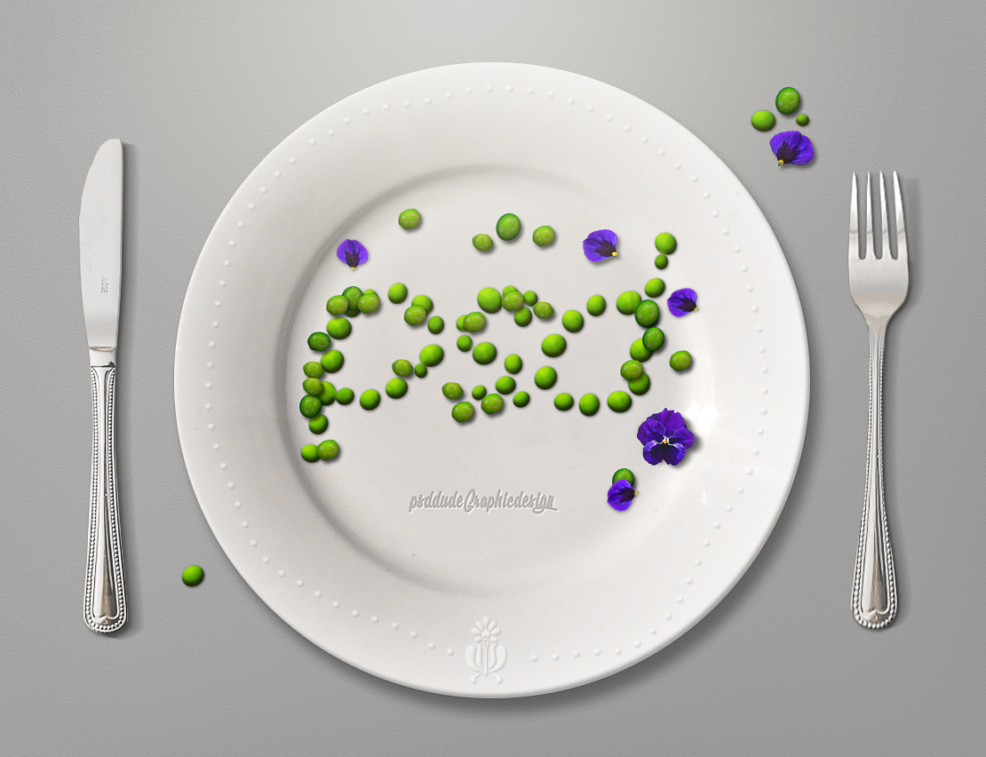 green peas on plate photoshop text effect