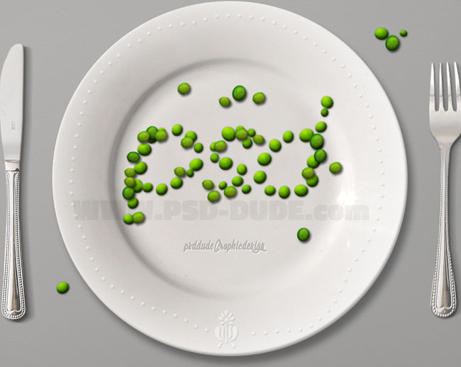 photoshop green peas on plate tutorial