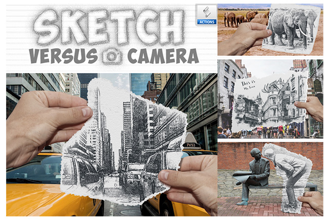 Sketch Torn Photo Effect Photoshop Action