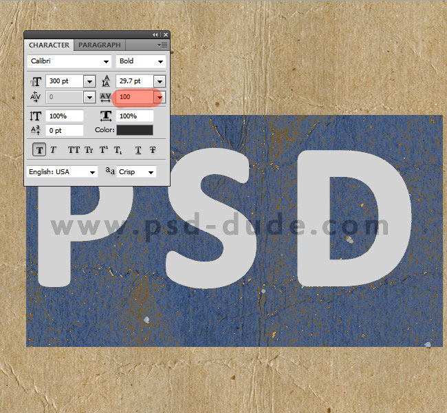 photoshop text tracking