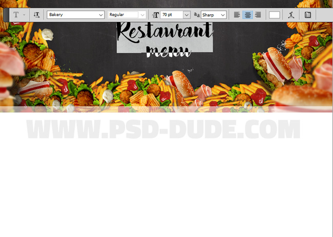 Adding Title To The Restaurant Menu Template In Photoshop