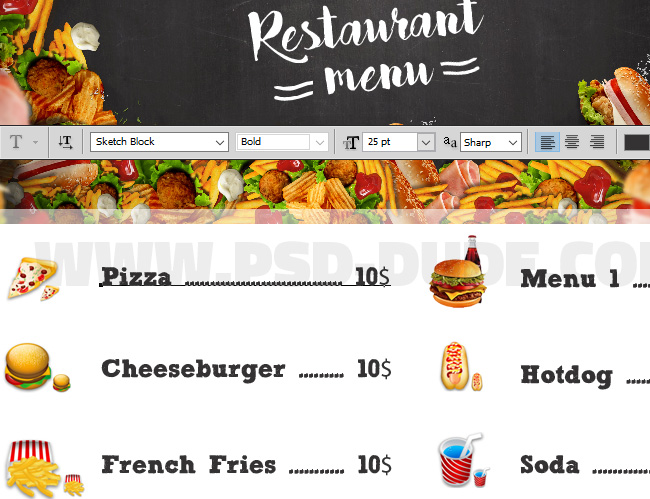 Photoshop Restaurant Food Menu Adding Prices