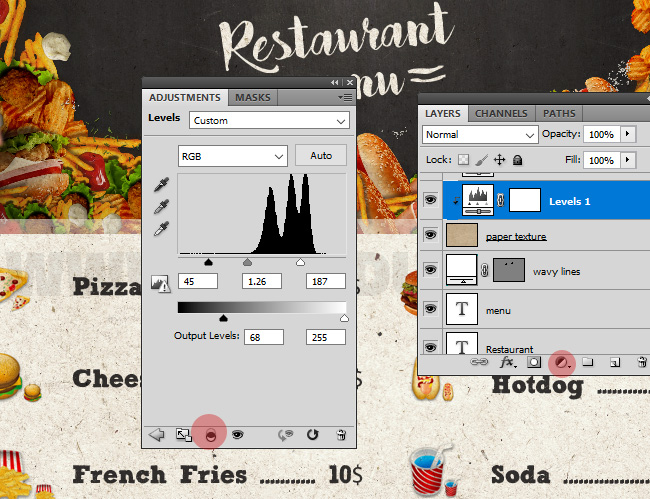 How To Create A Restaurant Food Menu Tutorial Lighten The Paper Texture