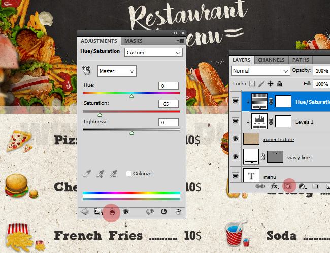 Adjust The Restaurant Menu Hue/Saturation In Photoshop