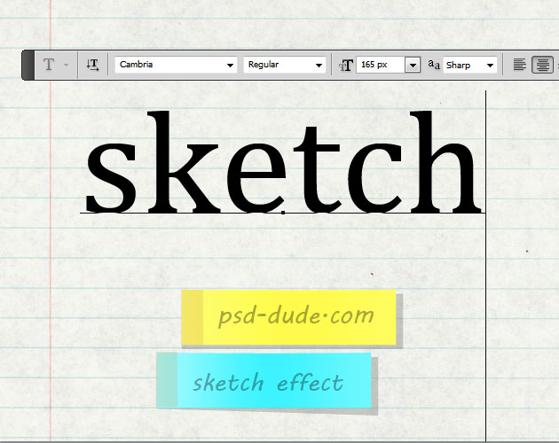 Add Sketch Text On Notebook Paper