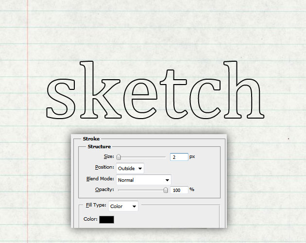 Sketch Text Outline in Photoshop