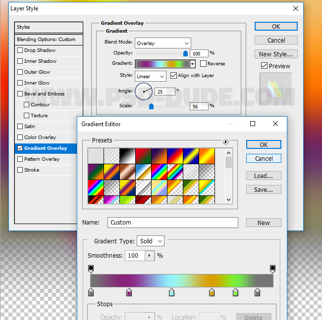 gradient overlay in photoshop
