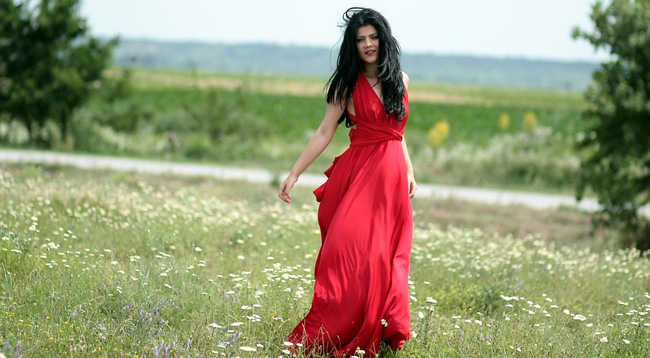 girl in red dress free stock image