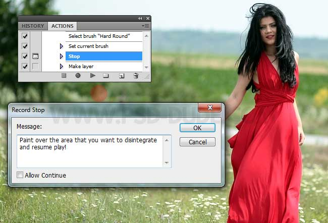photoshop action stop message