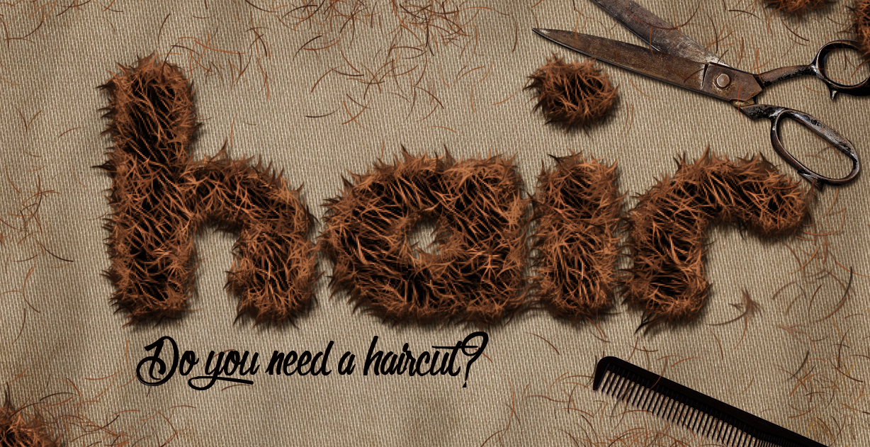 fur and hair text effect made in photoshop
