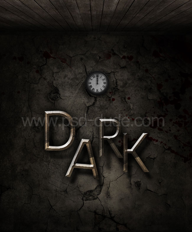 Photoshop gothic metal text on grungy wall