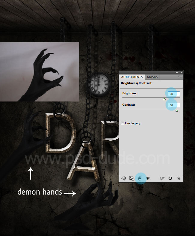 Photoshop added demon hand over the gothic text effect