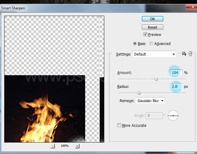 Smart Sharpen filter applied to flames