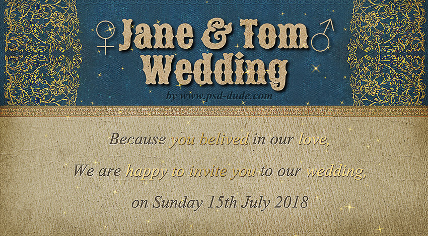 Design a wedding invitation with photoshop and textturizer photoshop wedding invitation tutorial stopboris Choice Image