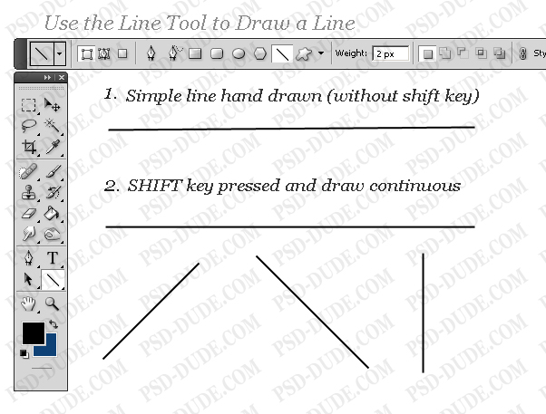 Drawing Lines With Pen Tool Photo : Draw a line in photoshop tutorial psddude