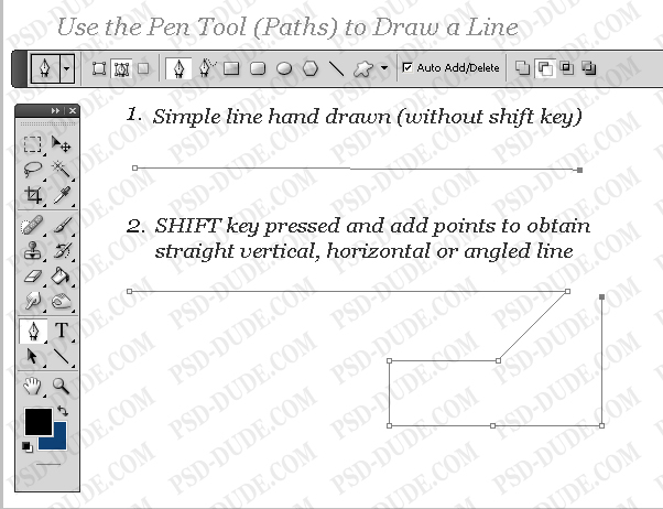 Line Draw Photoshop Paths And Draw a Line