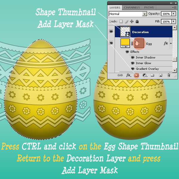 Use Layer Mask To Blend Easter Egg Decorations In Photoshop