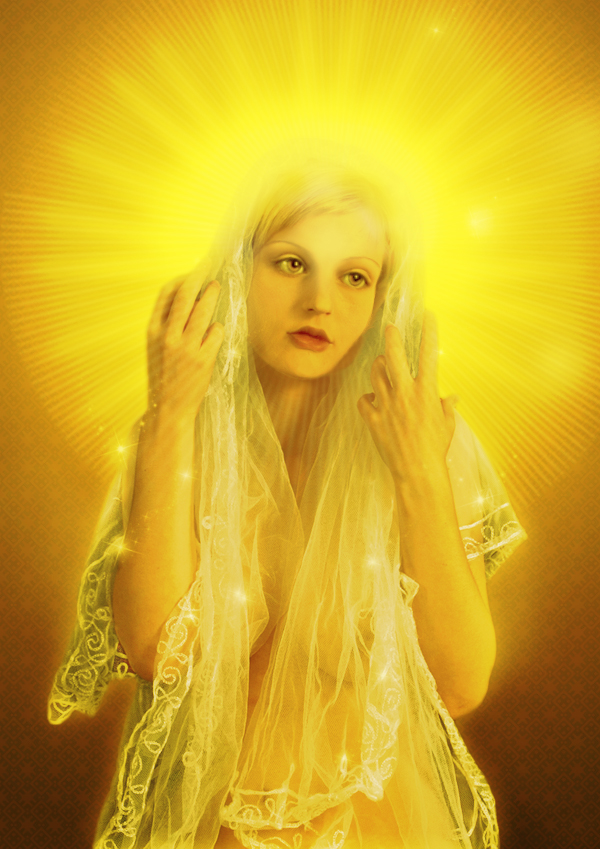 beautiful girl with golden glowing aura around her head
