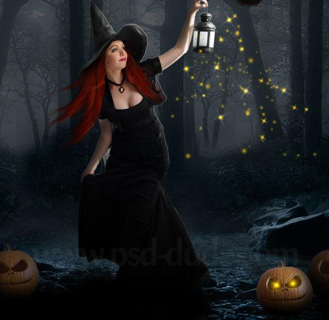 Halloween Night Witch Photoshop Manipulation Tutorial