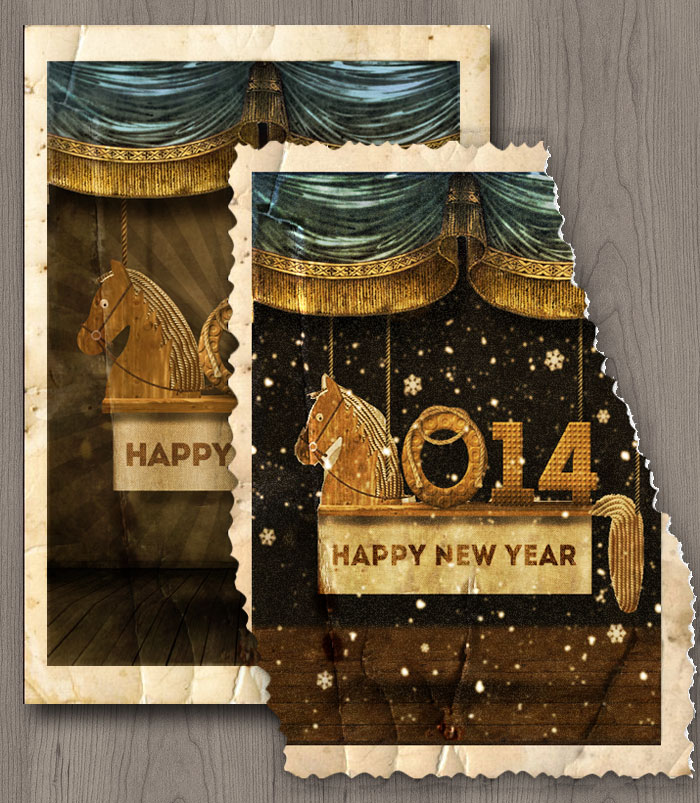 Happy New Year Vintage Old Card Photoshop Tutorial ...