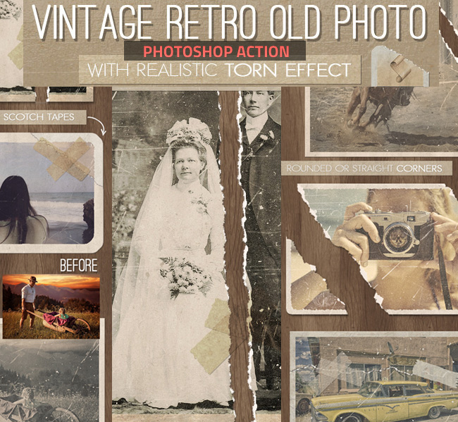 vintage distressed photoshop action download