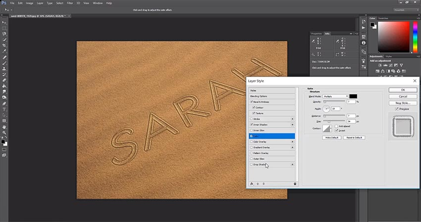 satin sand writing settings