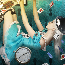 Alice in Wonderland Falling Down Photoshop Tutorial