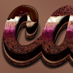 Cream and Chocolate Cake Photoshop Text Effect psd-dude.com Tutorials