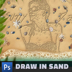 Draw in Sand Effect Photoshop Tutorial psd-dude.com Tutorials