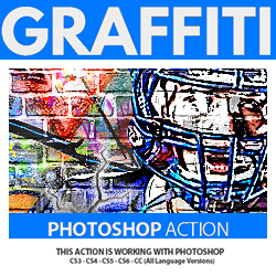 Graffiti Effect with Pop Up Photoshop Action Tutorial