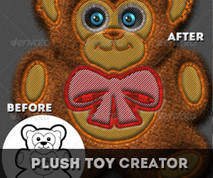Stiched Furry Plush Toys Photoshop Creator