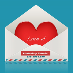 Heart in Envelope Icon Psd Tutorial psd-dude.com Tutorials