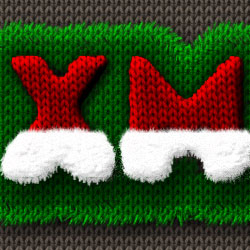 Santa Hat Knitted Christmas Text Effect in Photoshop