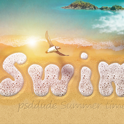 Sea Foam Text and Draw in Sand Effect Photoshop Tutorial
