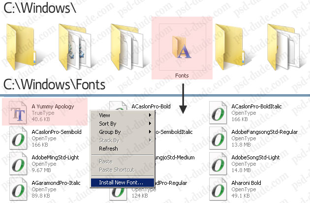 Install font in photoshop photoshop tutorial psddude add a new font ccuart Image collections