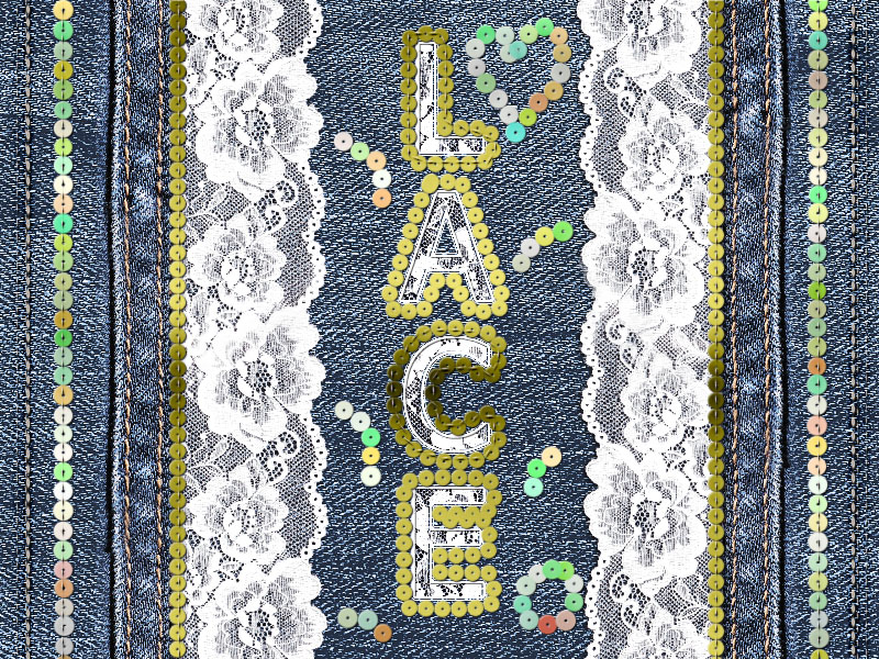 lace embroidery text with sequins in photoshop