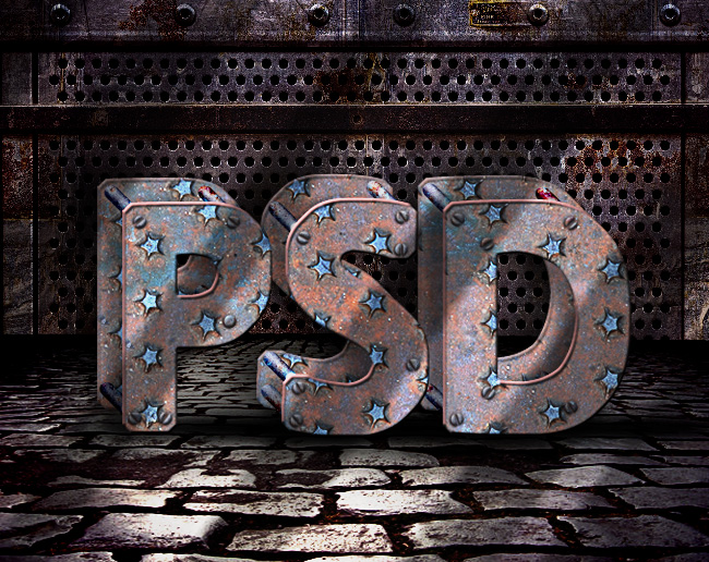 grunge rusty metal text in photoshop