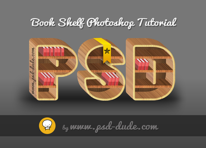 Book Cover Psd Tutorial : Make a wood book shelf text in photoshop