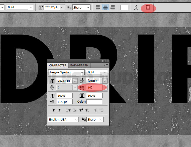 Character and Paragraph panels in photoshop